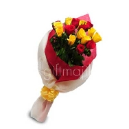 Buy Beautiful Flower bunch of 18 Red and Yellow Roses Express your Feelings