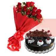 Buy Bold Bunch of 12 Red Roses and Half Kg Chocolate Black Forest Cake