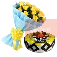 Send-Online-Yellow-Roses-Bunch of 25 flowers-with-half-kg-chocolate-Fresh-fruit-cake