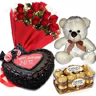 Buy Fresh Red Roses Paper Pack Delicious Cake 1kg Teddy and Chocolates for Birthday gifting
