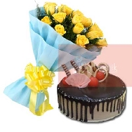 Send-Online-Yellow-Roses-Bunch of 25 flowers-with-half-kg-choco-Vanilla-cake