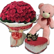 Send Online Grand Combo of 150 Red Roses with Red Velvet Cake and Big Soft Stuff Teddy