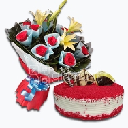 Assorted Bunch of Roses and Lily with Redvelvet Cake Very beautifuly paper packed and half kg redvelvet cake best for sending in an online delivery to your loved ones for delivering smiles