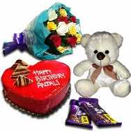 Buy Fresh Flowers Paper Pack Delicious Cake 1kg Teddy and Chocolates for Birthday gifting