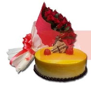 Buy Beautiful Bunch of 40 Rose Flowers and Mango Delight Cake