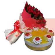 Send Beautiful Bunch of 40 Rose Flowers and Pineapple Delight Cake