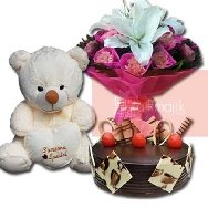 Elegance Arrangement of Flower Bunch Teddy and Chocolate Truffle Cake