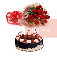 Buy 10 Red Roses Bunch and Half kg Chocolate Cherry Cake