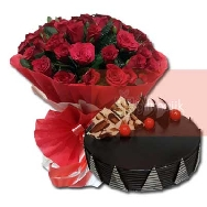Special Red Roses Bunch of 28 Roses and half kg Chocolate Truffle cake