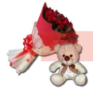 Buy Beautiful Bunch of 40 Rose Flowers and Teddy