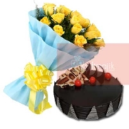 Send-Online-Yellow-Roses-Bunch of 25 flowers-with-half-kg-Chocolate-Truffle-cake