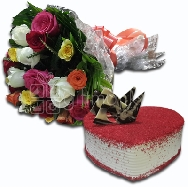 Buy Beautiful Flower Bunch of Mix Roses and Heart Shape Red Velvet Cake