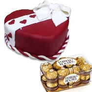 Buy online Designer Fondant Truffle Chocolate and Strawberry Mix Flavour Heart shaped Cake and Ferrero Rocher