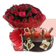 Send Bunch of 50 Roses Specially packed in Paper packed with Chocolate Truffle cake half kg