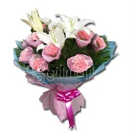 Buy Assorted Bunch of Lily and Pink Carnations