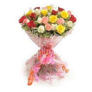 Flower Bunch of Mix Roses, online flowers delivery in chandigarh, mohali, panchkula, kharar, send gifts to chandigarh, send gifts to mohali
