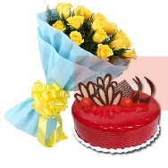 Send-Online-Yellow-Roses-Bunch of 25 flowers-with-half-kg-Strawberry-cake