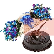 Buy 10 Orchid Boat shape Arrangement and Chocolate Cake Half kg