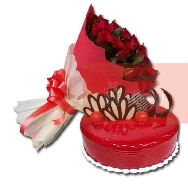 Buy Beautiful Bunch of 40 Rose Flowers and Strawberry Cake
